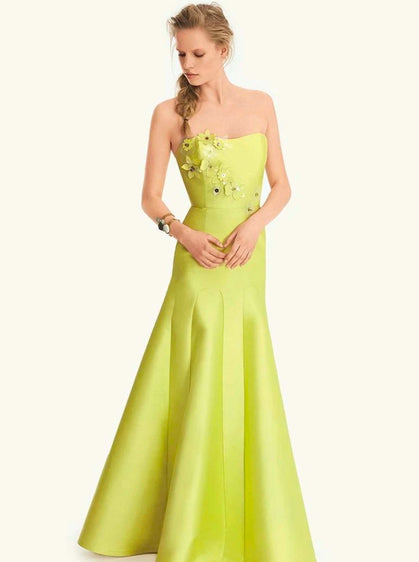 ROMAN USA-Floral Embellished Mermaid Gown-- [GREEN]