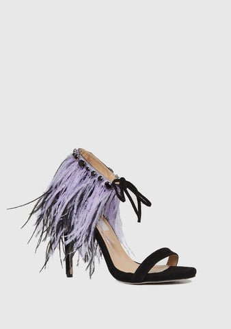 BLACK FEATHER DETAILED SHOES
