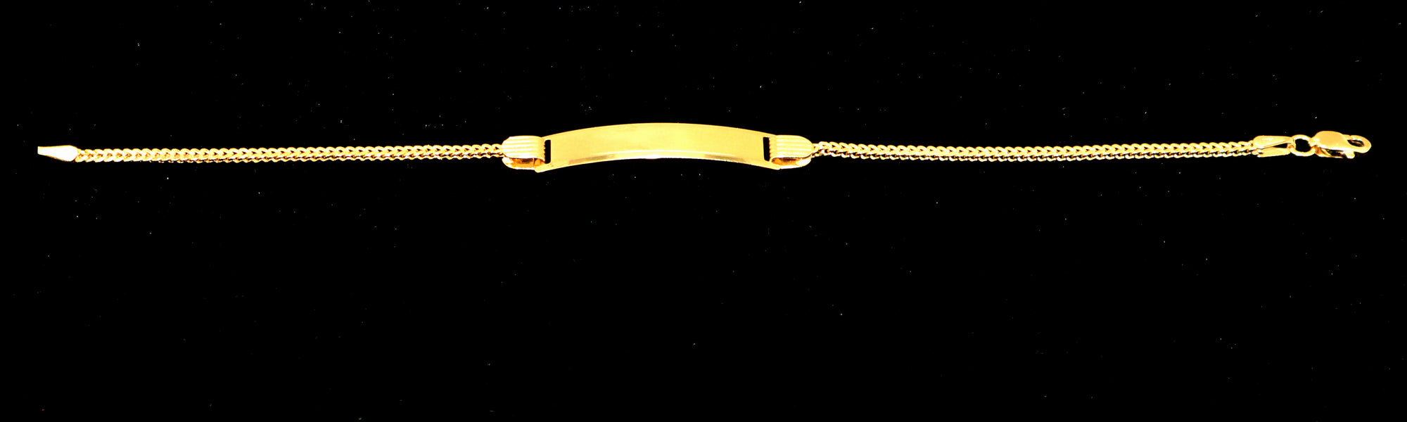 Real 10K Yellow Gold Hollow Franco ID Bracelet For Kids 2.0 mm
