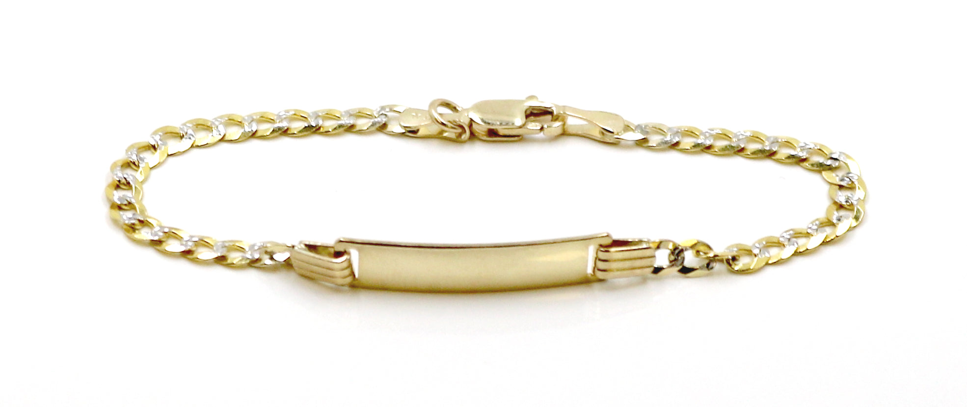 Real 10K Two Tone (Yellow and White) Gold Cuban Hollow ID Bracelet For Kids 3.5mm