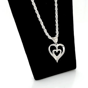 925 Made In Italy Sterling Silver Solid Diamond Cut Rope Chain 2.0 mm With FREE Heart Pendant / Charm