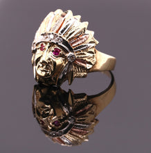 Load image into Gallery viewer, Real 10k Tri-color Solid Gold Native American Indian Chief Head Ring with CZ