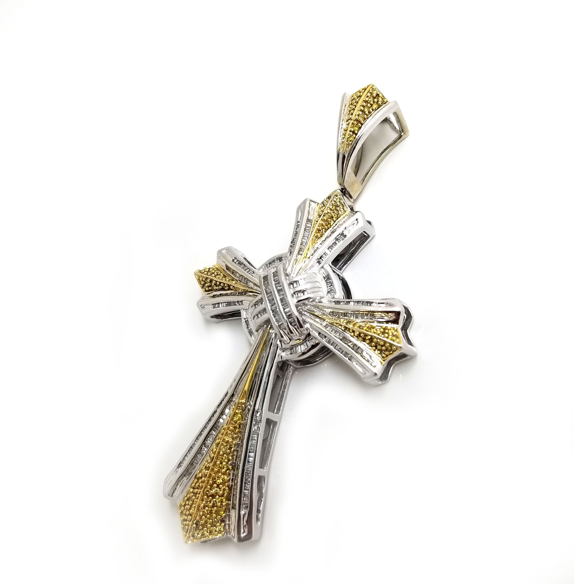 Real 10k White Gold with 3.5 ct Yellow & White Baguette Diamond Cross Pendant