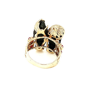 Solid 14K Gold Men's Face-Red Bead Black Color Ring