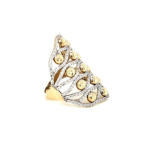 Solid 10K Gold Freeform with CZ Ring For Women