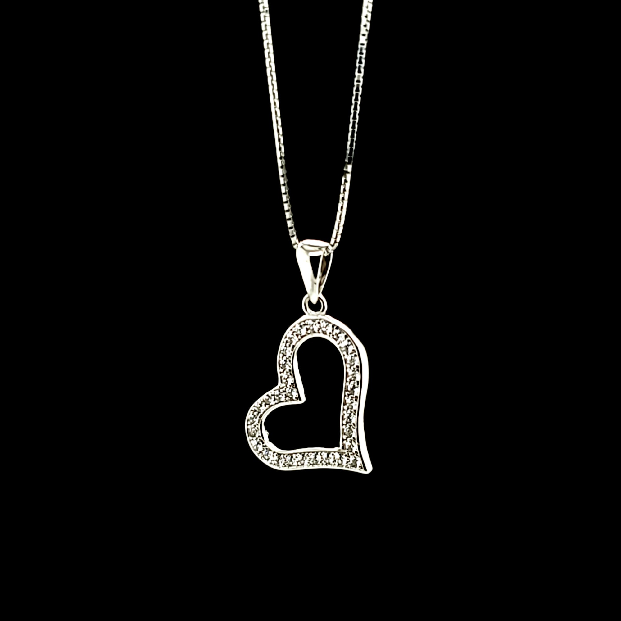 925 Sterling Silver (Made in Italy) Box Chain 18'' with Heart CZ Charm