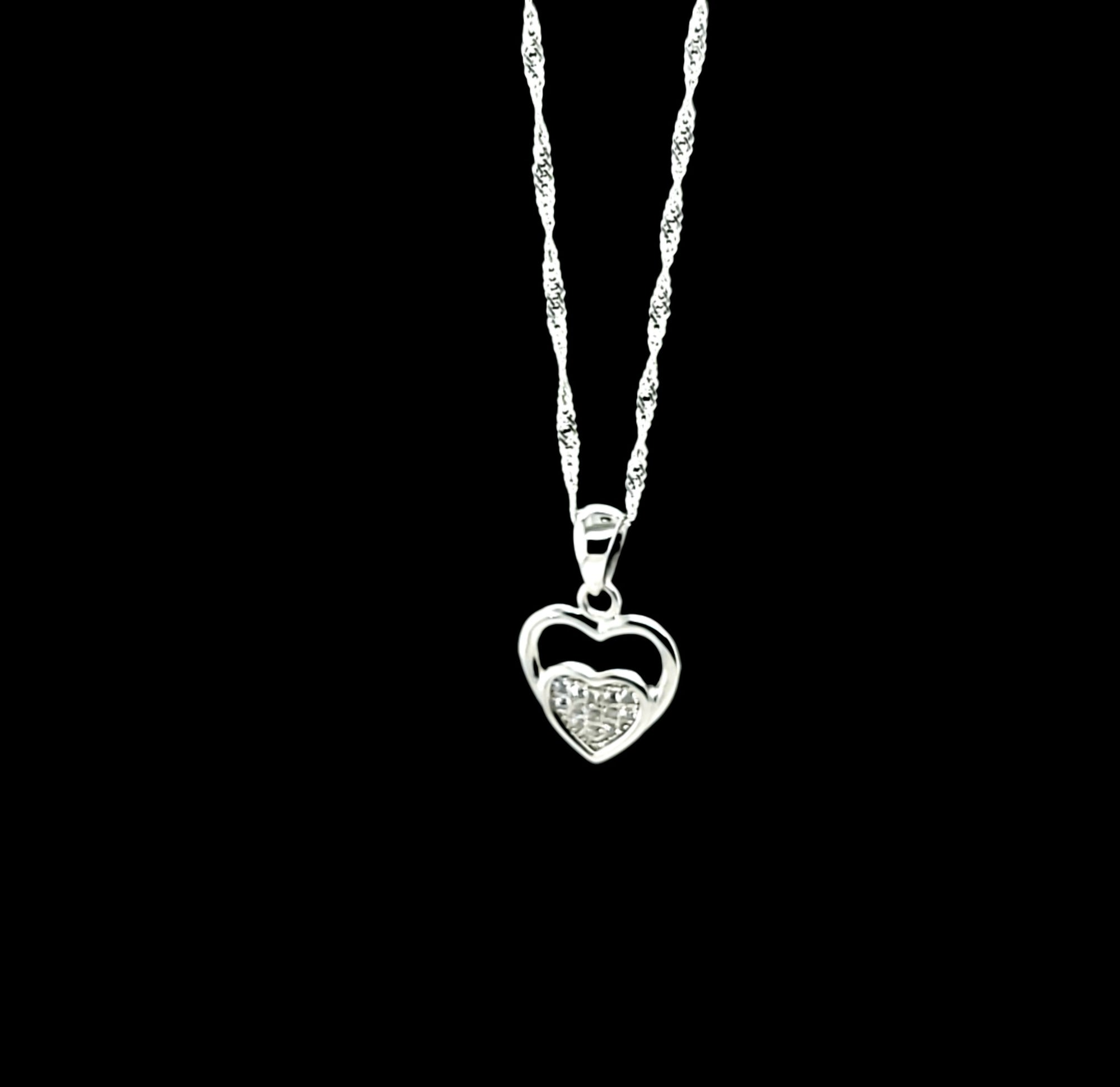 925 Sterling Silver (Made in Italy) Singapore Chain 18'' with Heart CZ Charm