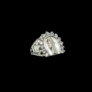 Solid 925 Sterling Silver (Made in Italy) Horseshoe Saint Jude Ring CZ For Men