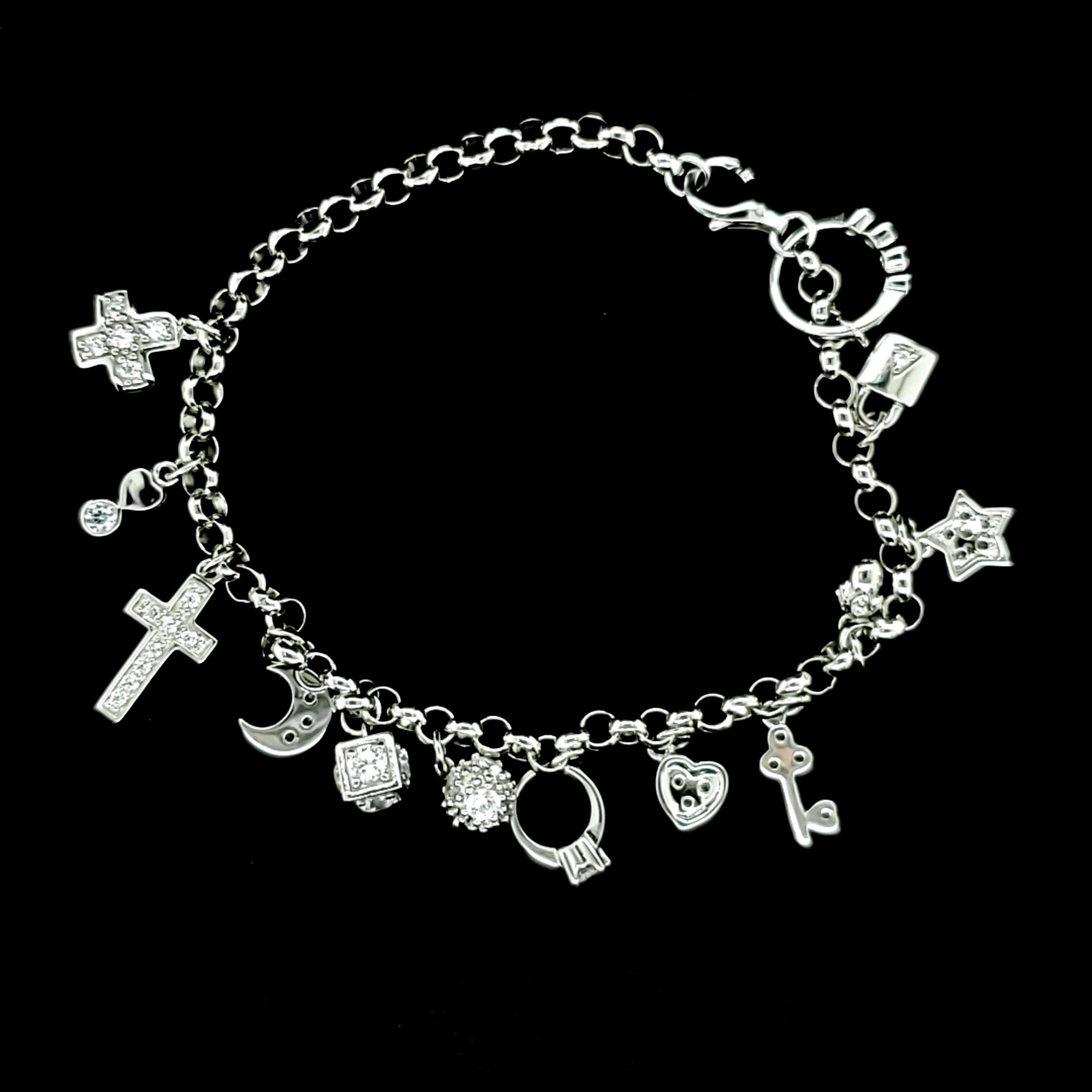 925 Sterling Silver (Made in Italy) Solid Charm Bracelet with 13 pendants for Women-gift for her 8""