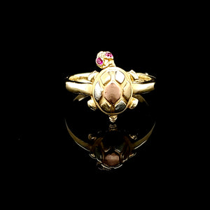 Solid 14K Tri Color Gold Turtle Ring with moving Head with Ruby Eyes for Women