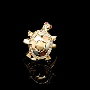 14K Real Solid Tri Color Gold Turtle Ring with Baby Turtle For Women
