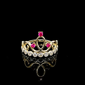 Solid 14K Gold Crown Ring For Women