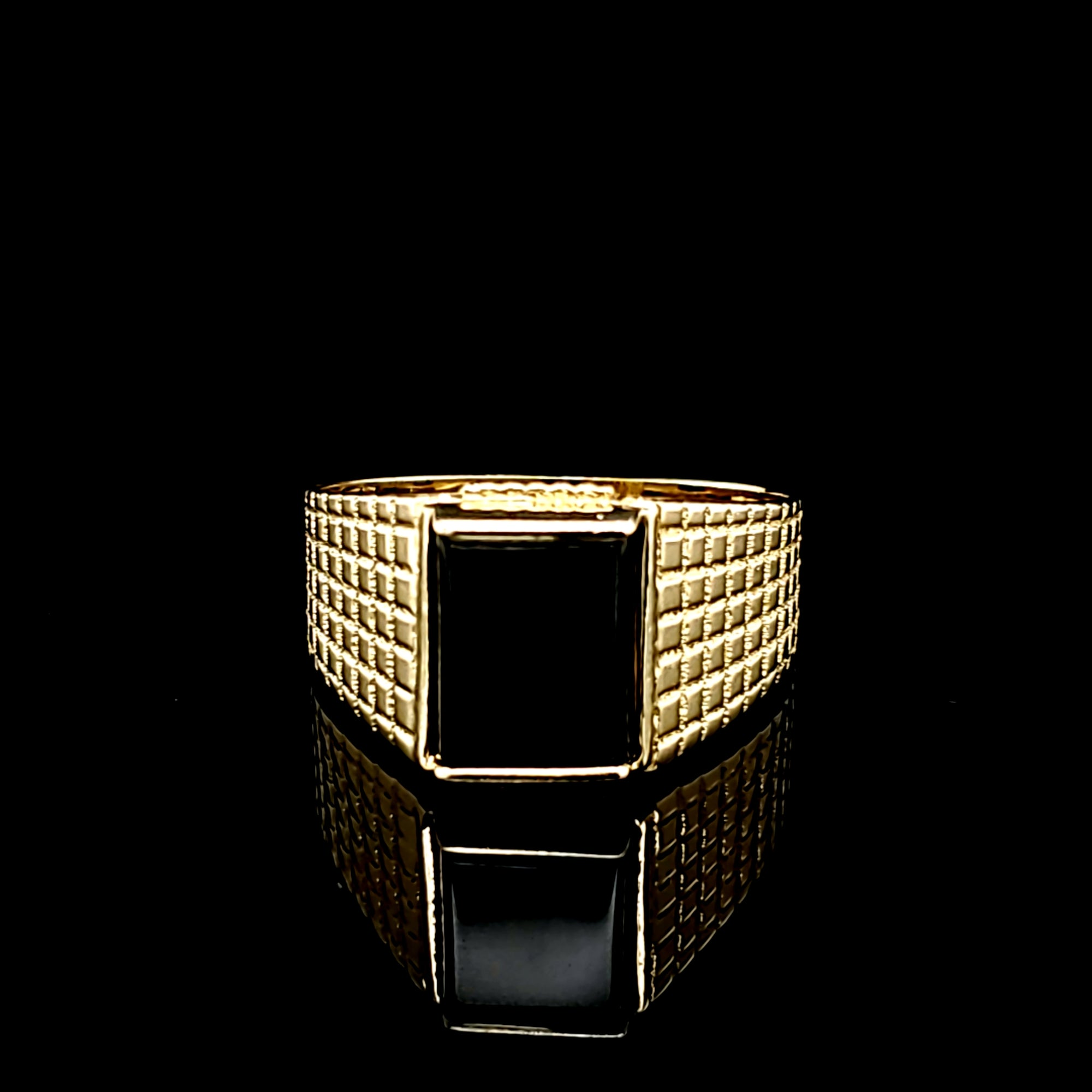 Solid 14K Gold Square Black Onyx Ring For Men