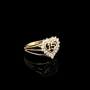 Solid 14K Gold CZ Heart Quinceañera / Birthday 15th Ring/Anillo For Women
