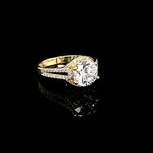 Solid 14K Gold Fancy Round CZ Solitaire Ring For Women
