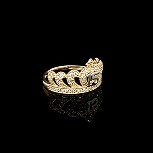 Solid 14K Gold Heart style Quinceañera / Birthday 15th Ring/Anillo For Women
