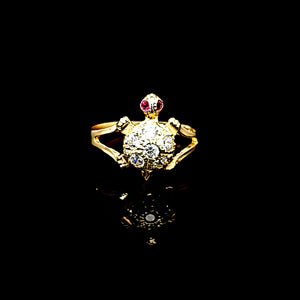 Solid 14K Gold CZ Turtle Ring For Women