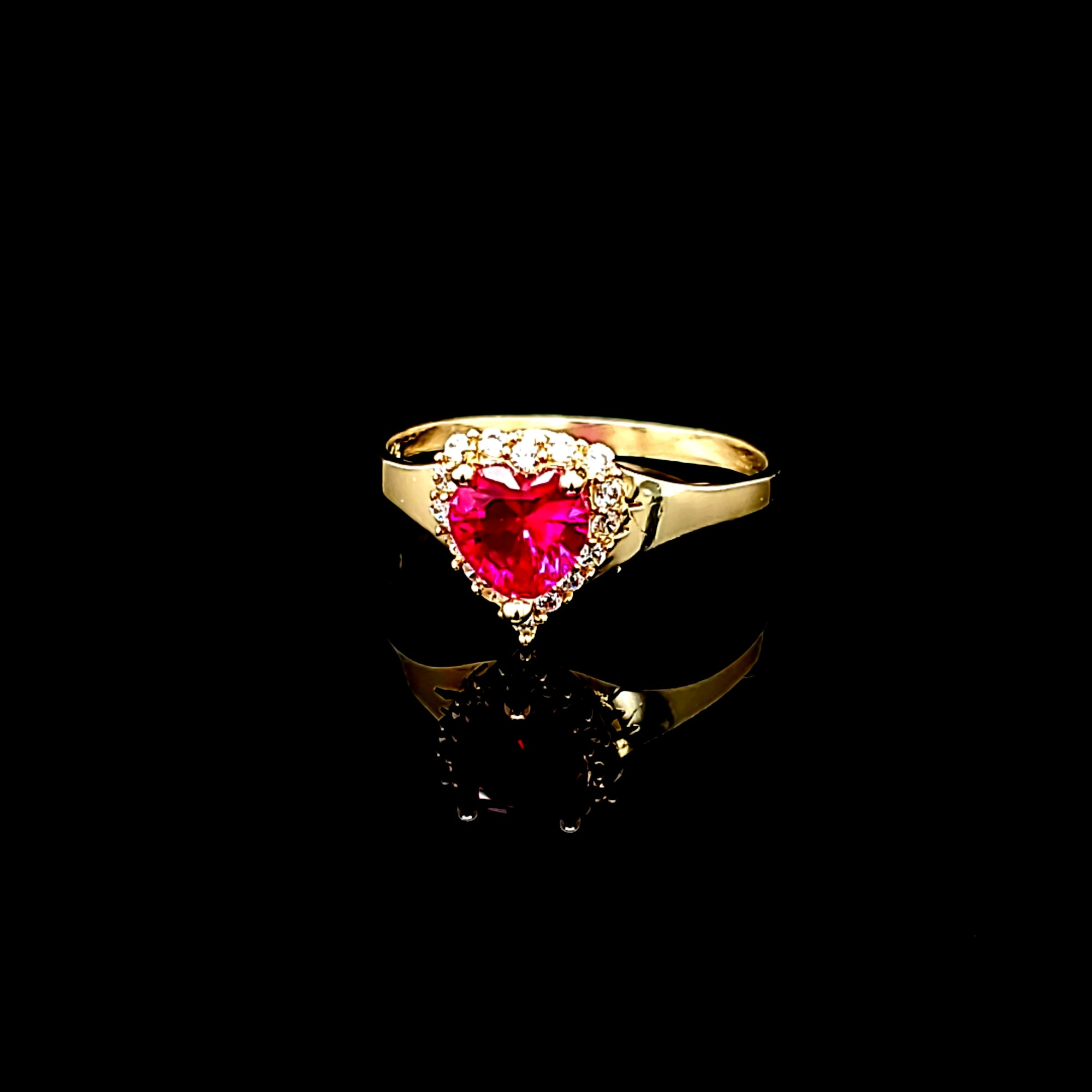 Solid 14K Gold Heart Ring For Women