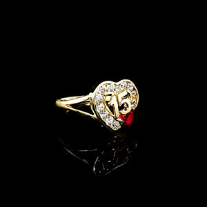 Solid 14K Two Tone Gold with Heart CZ Quinceañera / Birthday 15th Ring/Anillo For Women