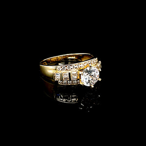 Solid 10K Gold Round Fancy Solitaire Ring with CZ For Women