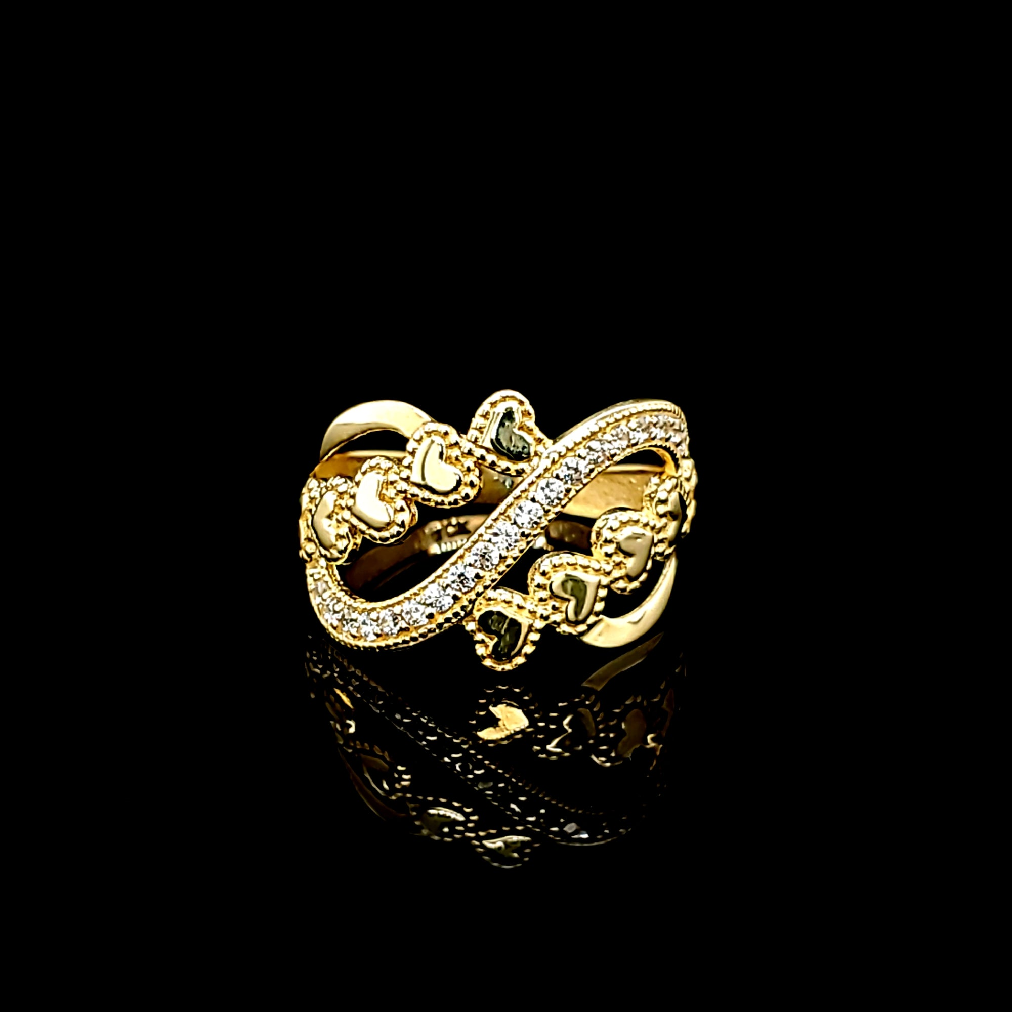 Solid 10K Gold Freeform with CZ and Heart Ring For Women