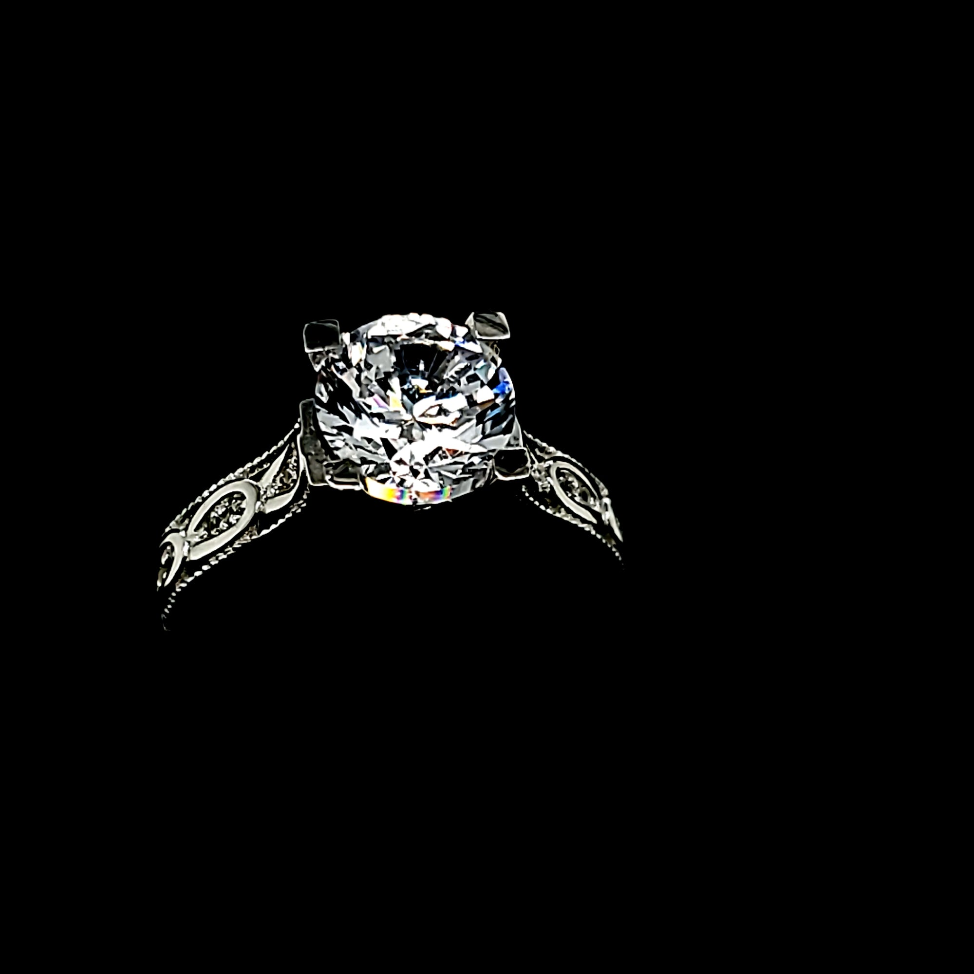 Solid 10K White Gold Round Fancy Solitaire with CZ Ring For Women