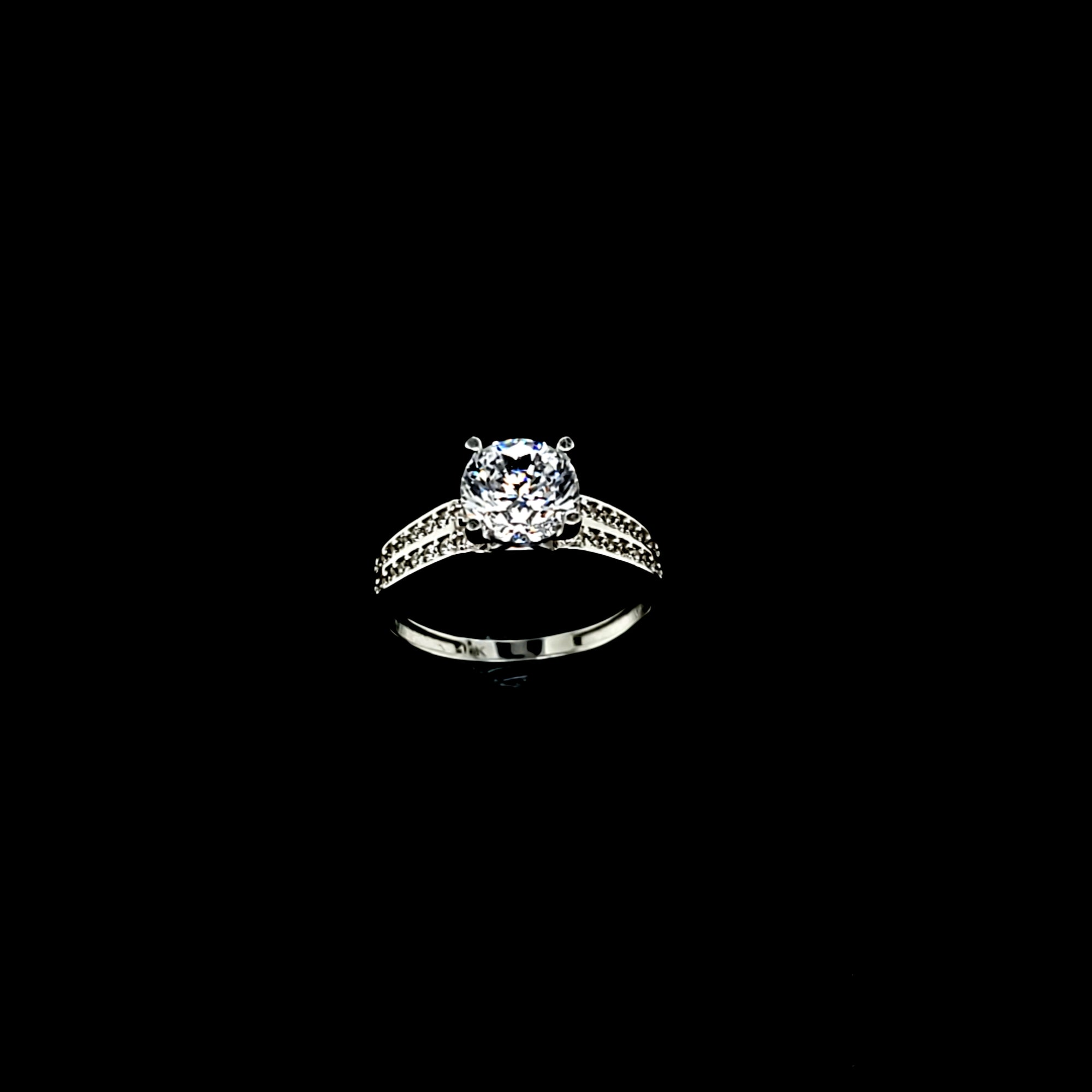 Solid 10K White Gold Round Fancy Solitaire with CZ 2 Rows Ring For Women