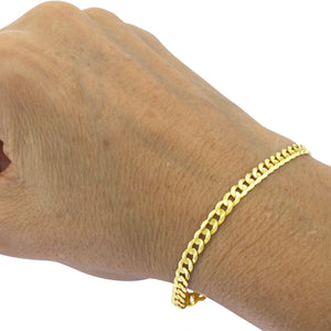 Real 10K Yellow Gold Hollow Cuban Link Curb Link Men & Women Bracelet / Anklet