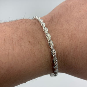 925 Sterling Silver Diamond Cut Solid Rope Bracelet/ Anklets For Men & Women Made In Italy