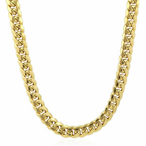 Real 10K Yellow Gold Miami Cuban Link Hollow Chain Necklace Men/Women 7.5 MM