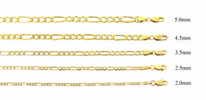 "Real 10K Yellow Gold Solid Figaro Chain Necklace 18"" to 24"", 2.0 MM to 4.5 MM"