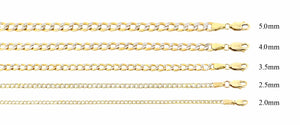 Real 10k Two Tone Yellow & White Gold Hollow Cuban Chain 2.0MM to 7.5MM