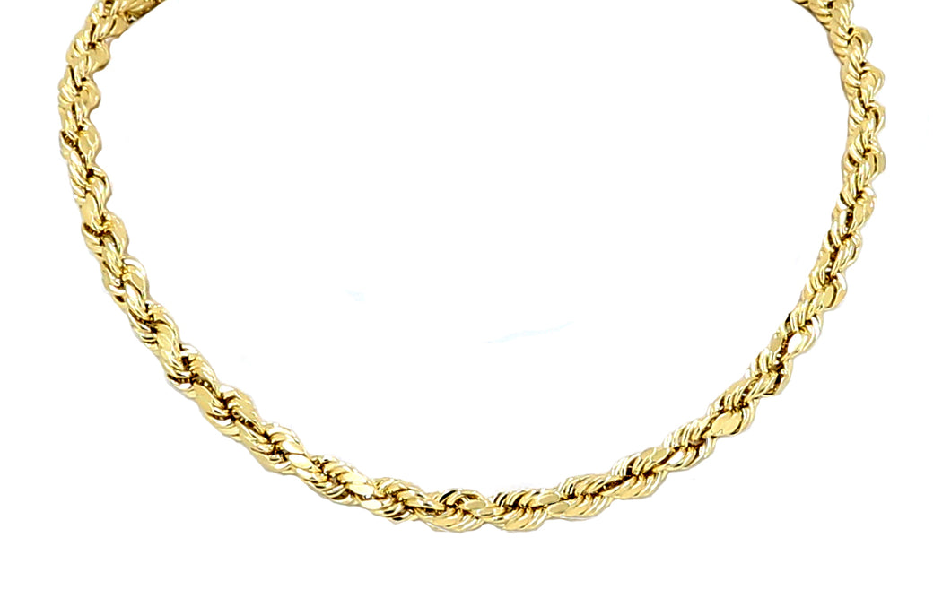 Real 10k Yellow Gold Hollow Rope Chain Necklace 18