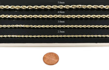 "Load image into Gallery viewer, Real 10k Yellow Gold Hollow Rope Chain Necklace 18"" to 24"", 1.8MM to 5.0MM"
