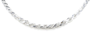 Made in Italy 925 Sterling Silver Diamond Cut Solid Rope Chain / Necklace For Men & Women