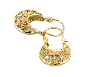 Real 10K Tri Color Yellow, White, & Rose Gold Filigree Basket Hoop Earrings
