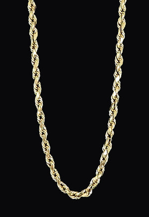 14K Real Yellow Gold Diamond Cut Rope Chain Solid For Men / Women - Gifts For Him / her