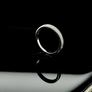 Solid 925 Sterling Silver (Made in Italy) Ring/Band CZ For Men/Women