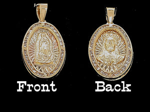 Real 10K Gold Religious Charm Mother Mary, Jesus, Cross, Guadalupe , Virgin Mary Charm / Pendant