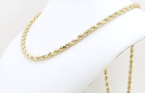 10K Real Yellow Gold Diamond Cut Rope Chain Solid For Men / Women - Gifts For Him / Her