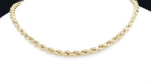 "Real 10k Yellow Gold Hollow Rope Chain Necklace 18"" to 24"", 1.8MM to 5.0MM"