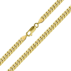 Real 10k Yellow Gold Hollow Miami Cuban Link Anklet Beach Bracelet 3.5mm,10 Inch for Women