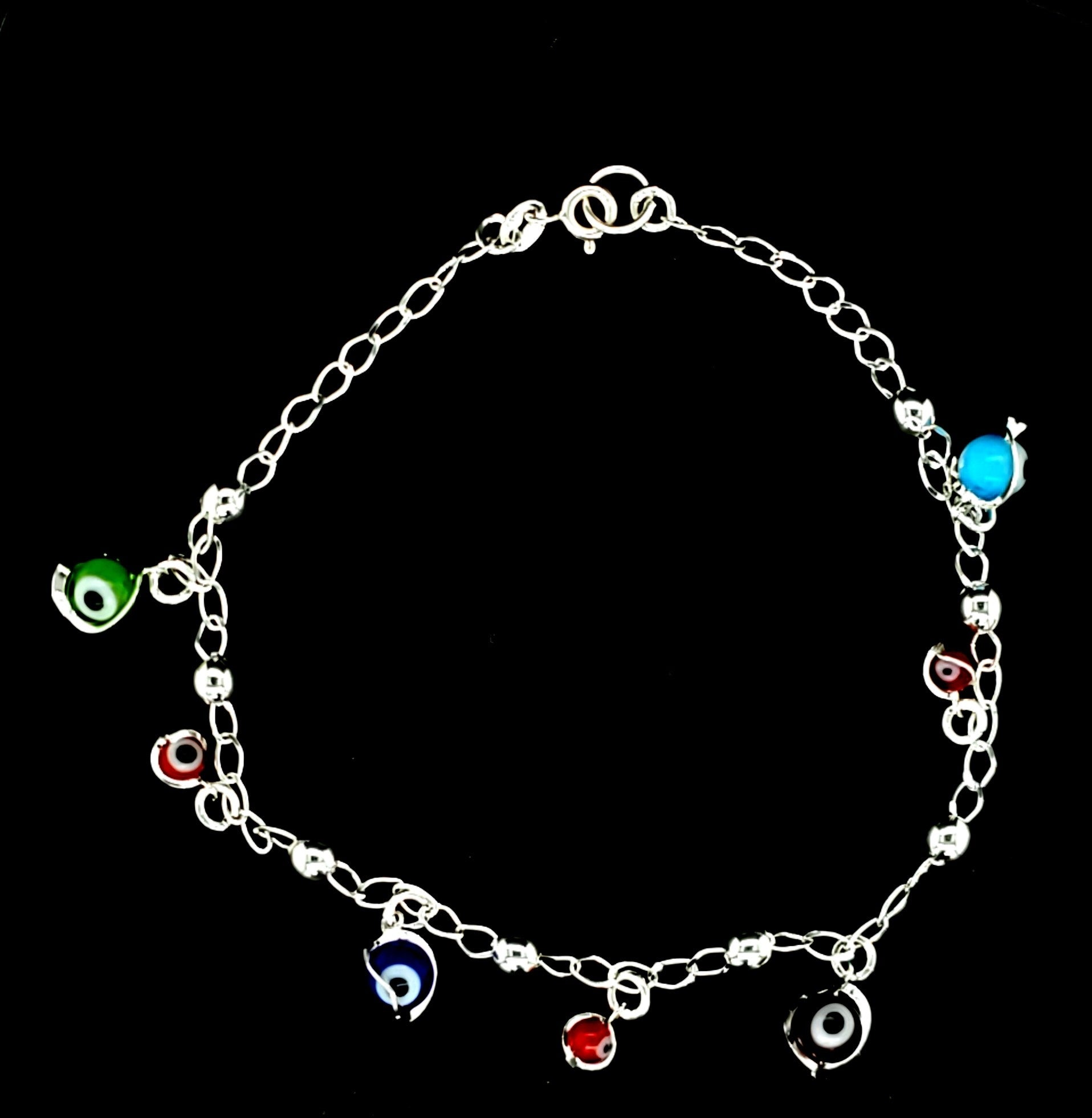 925 Sterling Silver (Made in Italy) Solid Evil Eye Bracelet for Women-gift for her 9.5""