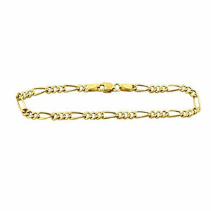 Real 10K Yellow Gold Hollow Figaro Men & Women Bracelet / Anklet 2.0mm - 4.0mm