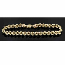 Load image into Gallery viewer, Real 10K Yellow Gold Hollow Rope Men & Women Bracelet / Anklet 1.8mm - 5.0mm
