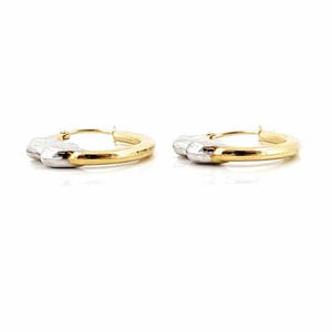 Women's 10k Yellow and White Gold Heart Hoop Earrings