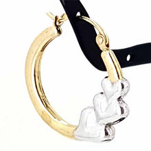Load image into Gallery viewer, Women's 10k Yellow and White Gold Heart Hoop Earrings