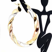 Load image into Gallery viewer, Women's 10k Yellow White and Rose Gold Hoop Earrings