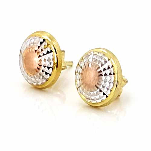 Women's 10k Yellow White and Rose Gold Button Stud Earrings