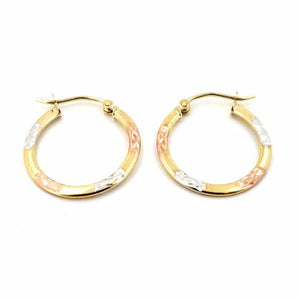 Women's 10k Yellow White and Rose Gold Hoop Earrings